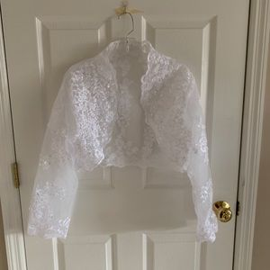 Sweaters - White Embroidered Wedding Shoulder Shrug